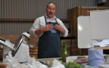 Graham Waddington teaching the Home Charcuterie course at Kate Humble's Farm Humble By Nature