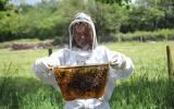 Kate Humble suited up on the bee keeping course at Humble by Nature