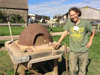 Tez Roberts pizza oven building at Humble by Nature in Monmouth South Wales