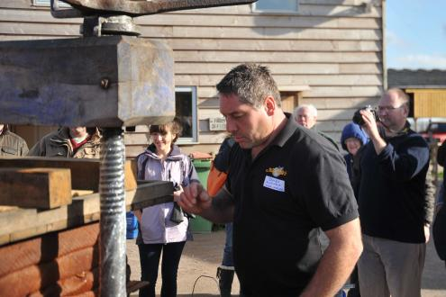 James McCrindle of McCrindles' Cider, Cider making course at Kate Humble's farm Humble by Nature in Monmouth